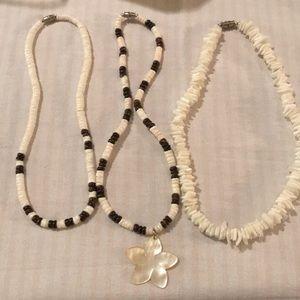 Three puka shell  necklaces